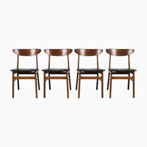 Teakholz Esszimmerstühle, 1960er, 4er Set