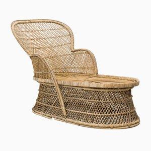 Chaise longue vintage in vimini intrecciati, anni '70