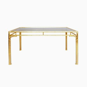 Brass Faux Bamboo Dining Table, 1970s