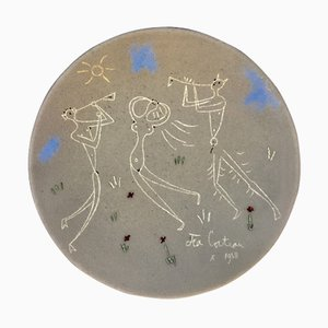 Danseuse et Musiciens Terracotta Pottery Dish by Jean Cocteau, 1958