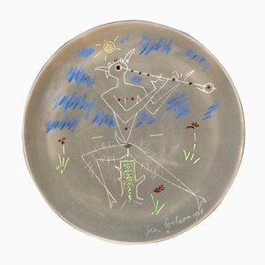 Terracotta Teller mit Faun Musikanten von Jean Cocteau, 1958
