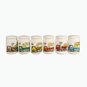 Opaque White Glass Jars & Covers by Piero Fornasetti, 1960s, Set of 6