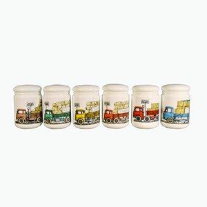 Vasetti con coperchi in vetro bianco opaco di Piero Fornasetti, anni '60, set di 6