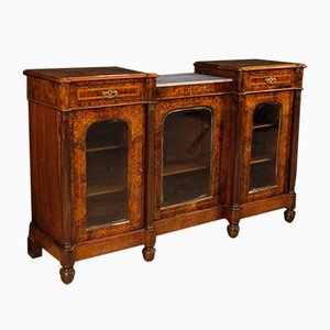Vintage English Inlaid Burl Walnut, Maple & Rosewood Sideboard