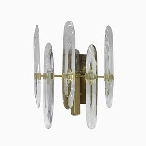 Large Brass Wall Sconce by Gaetano Sciolari 1960s