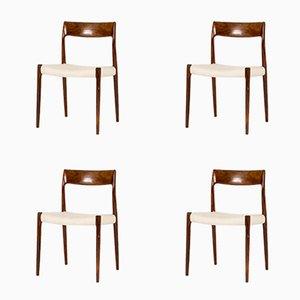 Palisander Esszimmerstühle von Niels O. Møller für J.L. Møllers, 1950er, 4er Set