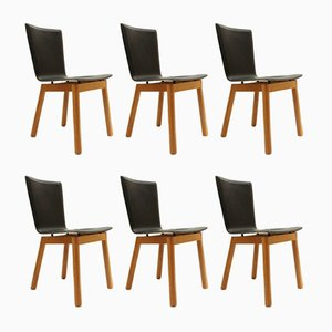 Italian Leather Chairs, 1980s, Set of 6