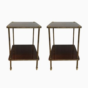 Tables d'Appoint en Acajou et Laiton, 1950s, Set de 2