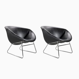 Armchairs in Faux Leather by Rudolf Wolf for Rohé Noordwolde, 1950s, Set of 2