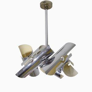 Lámpara colgante vintage de metal cromado, años 70