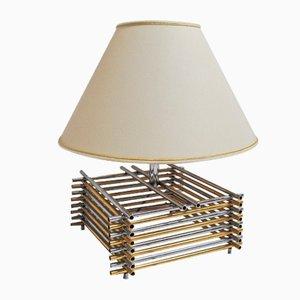 Lámpara de mesa italiana de acero y latón, 1968