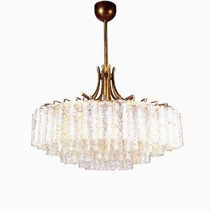 Großer Kronleuchter mit Blattgold Murano Glasröhren von Doria, 1960er