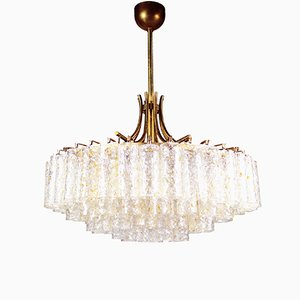 Large Chandelier with Gold Flaked Murano Glass Tubes from Doria, 1960s