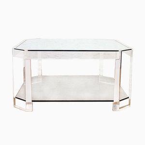 Table Basse Vintage en Plexiglas & Verre par David Lange