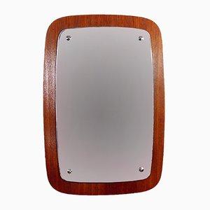 Espejo escandinavo de chapa de teca, años 50