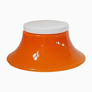 Lámpara de mesa Era Espacial de vidrio blanco y naranja, años 70