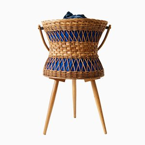 German Wicker Tripod Sewing Basket, 1960s