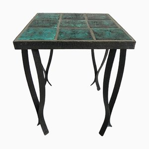Mid-Century Side Table with 9 Tiles & Steel Frame