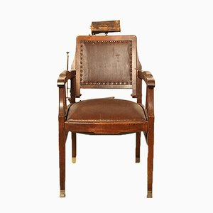 Antique Oak & Leather Barber's Chair