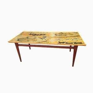 Table Basse Vintage en Teck avec Plateau Peint, Danemark, 1966
