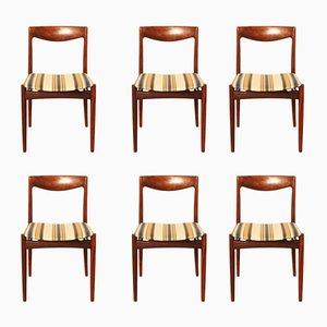 Dänische Esszimmerstühle aus massivem Palisander, 1960er, 6er Set