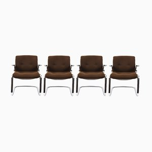 Mid-Century Chromed Steel & Cotton Armchairs from Steelcase, 1980s, Set of 4