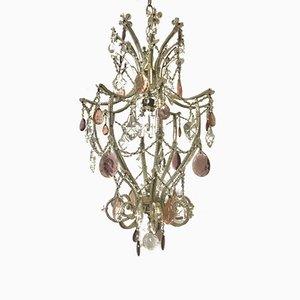 Lámpara de araña italiana vintage con cuentas de cristal