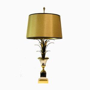 Lampada da tavolo Hollywwod Regency con foglie di palma di Maison Charles, anni '60
