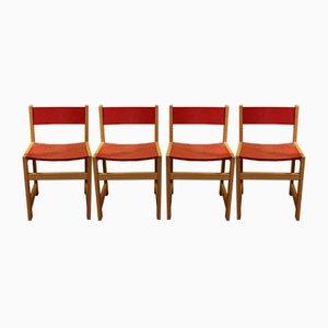 Chaises d'Ecole Mid-Century Rouges, Set de 4