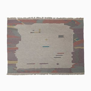 Vintage Pastel Colored Flat Weave Rug