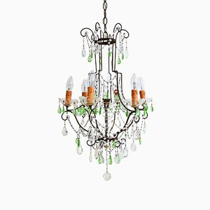 Crystal Chandelier with Green Murano Drops, 1950s