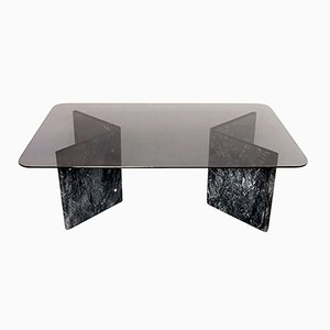 Small Black Carrara Marble & Glass Coffee Table, 1980s