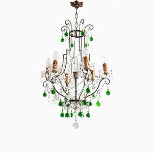 Kristallglas & Messing Kronleuchter mit grünen Tropfen aus Murano Glas, 1950er