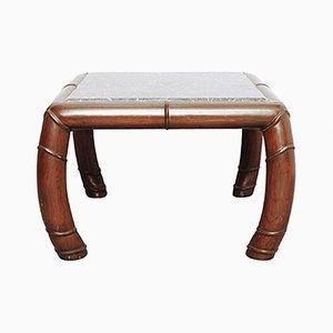Table d'Appoint en Faux Bamou & Marbre Gris, 1960s