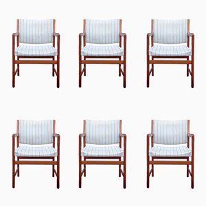 Solid Teak Armchairs by Karl Erik Ekselius for J.O. Carlsson, 1970s, Set of 6