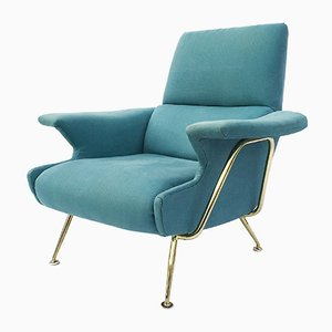 Italian Armchair with Brass Frame, 1950s