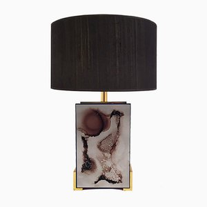 Lámpara de mesa vintage esmaltada con detalles de cromo quemado y latón de J.G.