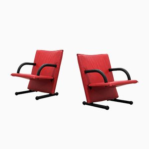 T-Line Leather Armchairs by Burkhard Vogtherr for Arflex, 1980s, Set of 2