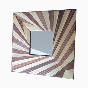 Leaf Mirror with Straw Marquetry by Violeta Galan