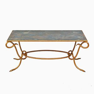 French Mirrored Gilt Coffee Table by René Drouet, 1962