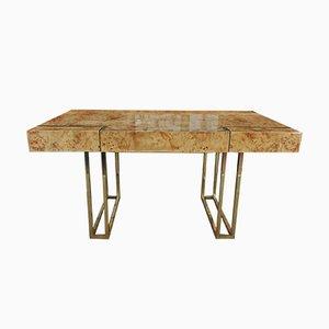 Schreibtisch aus Ulme & Messing Schreibtisch von Jean Claude Mahey, 1970er