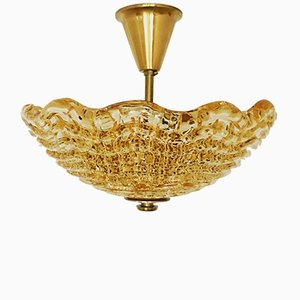 Swedish Ceiling Light in Brass and Glass by Carl Fagerlund for Orrefors, 1950s
