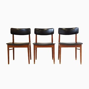 Danish Teak & Leatherette Chairs by S. Chrobat for Sax, 1960s, Set of 3