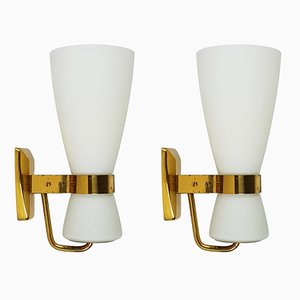 Large Brass & Glass Yellow Label 2118 Sconce from Stilnovo, 1959, Set of 2