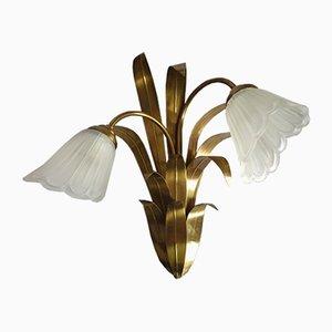 Doppelte Wandlampe aus Messing & Glas, 1960er