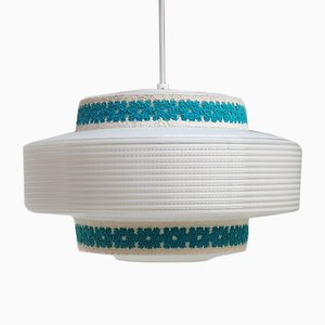 Vintage Pendant Light with Fabric Decoration by Yasha Heifetz for Rotaflex Heifetz, 1950s