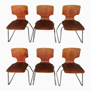 Chaises en Teck & Chrome, 1950s, Set de 6