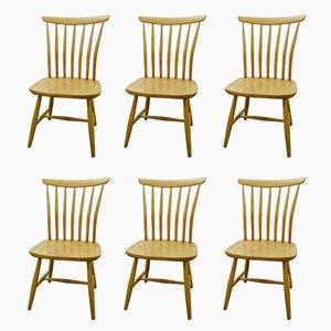 Chaises de Salon Spindle Back Mid-Century en Hêtre par Bengt Akerblom pour Akerblom, Set de 6