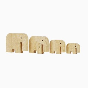 Vintage Italian Travertine Elephants by Fratelli Manelli, 1970s, Set of 4
