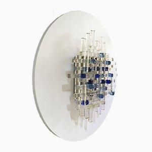 Glas Wandlampe mit Holzsockel von Poliarte, 1970er